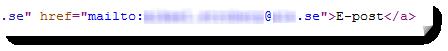 E-postadressen syns i html-taggarna i sidans källkod. Adressen är maskad.