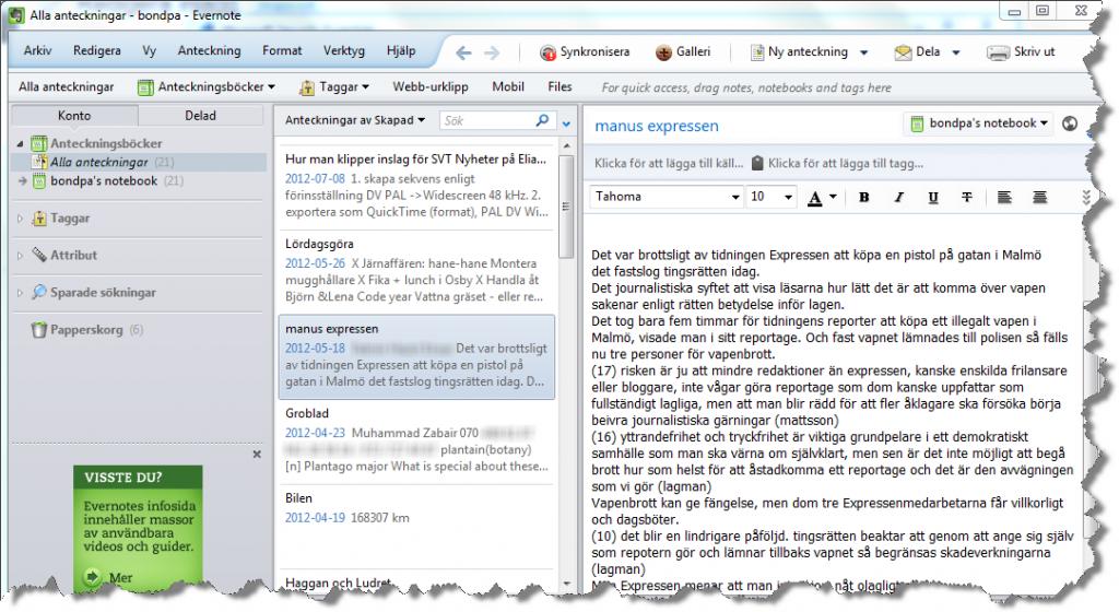 Evernote är inte bara en app utan finns också till skrivbordet