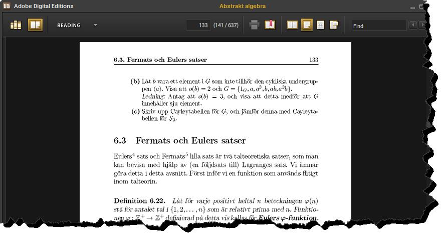 Skärmklipp från Adobe Digital Editions-fönster