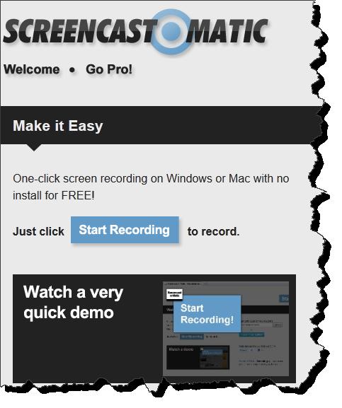 Skärmklipp från Screencast-o-matic