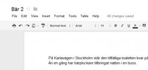 Exempel från manus i Google Docs