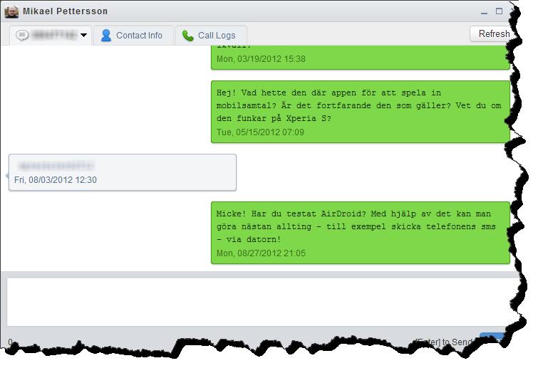 I AirDroid kan man sms-chatta med vanligt tagentbord