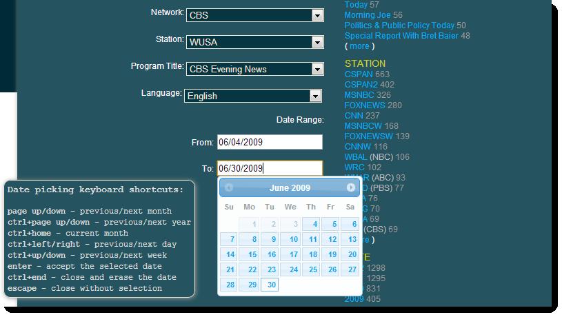Med söktjänsten kan man begränsa på till exempel kanal och datum.