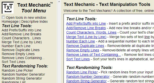 Text Mechanic innehåller en uppsättning enkla verktyg för att hantera text.