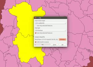 III QGIS croppa distrikt med clip